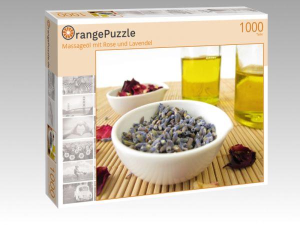 """Puzzle Motiv """"Massageöl mit Rose und Lavendel"""" - Puzzle-Schachtel zu 1000 Teile Puzzle"""