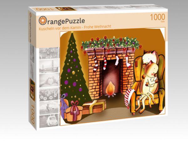 """Puzzle Motiv """"Kuscheln vor dem Kamin - Frohe Weihnacht"""" - Puzzle-Schachtel zu 1000 Teile Puzzle"""