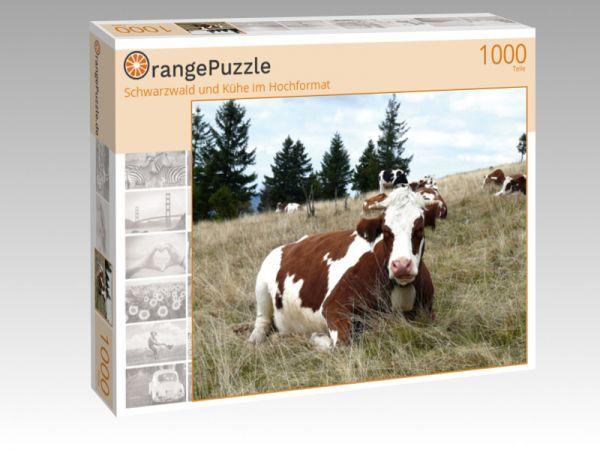 """Puzzle Motiv """"Schwarzwald und Kühe im Hochformat"""" - Puzzle-Schachtel zu 1000 Teile Puzzle"""