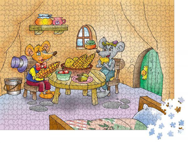 "Puzzle-Motiv ""Stadtmaus und Landmaus"" - Puzzle-Teile zu 1000 Teile Puzzle"