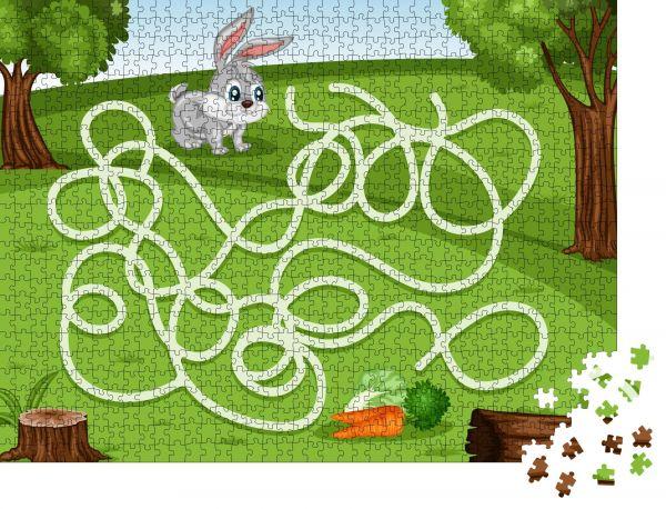 """Puzzle-Motiv """"Labyrinth-Spiel Helfen Sie dem kleinen Kaninchen, die Karotte reich zu machen"""" - Puzzle-Teile zu 1000 Teile Puzzle"""