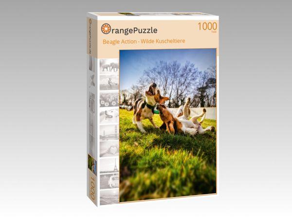 "Puzzle Motiv ""Beagle Action - Wilde Kuscheltiere"" - Puzzle-Schachtel zu 1000 Teile Puzzle"