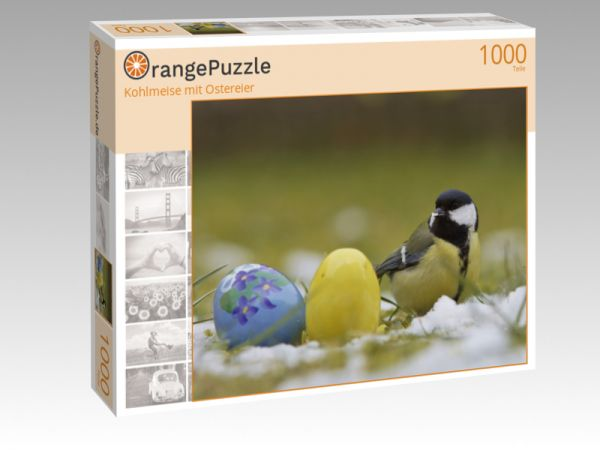 "Puzzle Motiv ""Kohlmeise mit Ostereier"" - Puzzle-Schachtel zu 1000 Teile Puzzle"