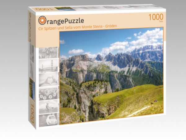 """Puzzle Motiv """"Cir Spitzen und Sella vom Monte Stevia - Gröden"""" - Puzzle-Schachtel zu 1000 Teile Puzzle"""