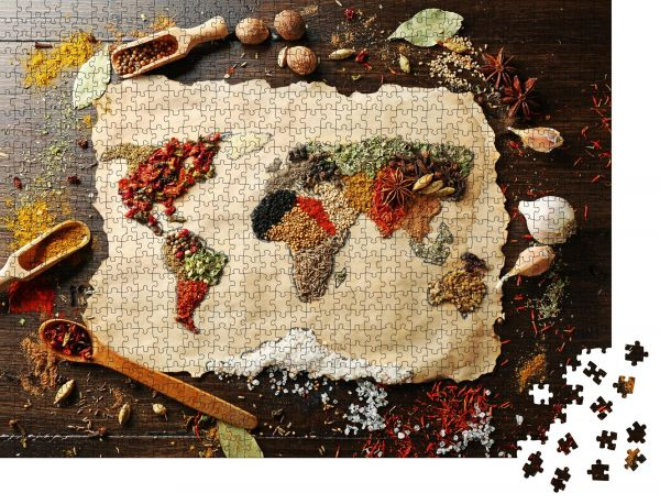 """Puzzle-Motiv """"Weltkarte aus verschiedenen Gewürzen auf Holzuntergrund"""" - Puzzle-Schachtel zu 1000 Teile Puzzle"""