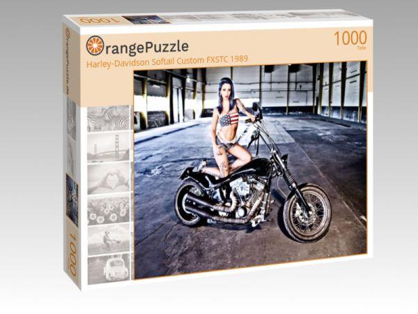 "Puzzle Motiv ""Harley-Davidson Softail Custom FXSTC 1989"" - Puzzle-Schachtel zu 1000 Teile Puzzle"