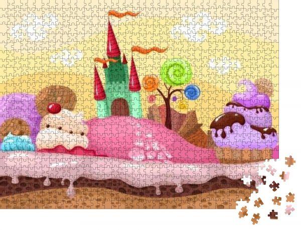 """Puzzle-Motiv """"süße Landschaft"""" - Puzzle-Teile zu 1000 Teile Puzzle"""
