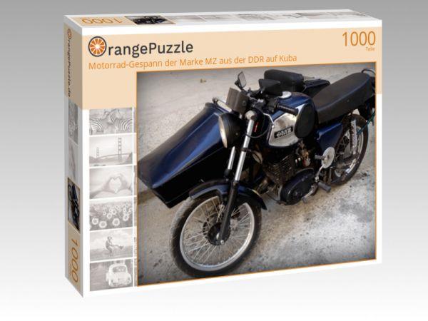 """Puzzle Motiv """"Motorrad-Gespann der Marke MZ aus der DDR auf Kuba"""" - Puzzle-Schachtel zu 1000 Teile Puzzle"""