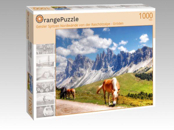 """Puzzle Motiv """"Geisler Spitzen Nordwände von der Raschötzalpe - Gröden"""" - Puzzle-Schachtel zu 1000 Teile Puzzle"""