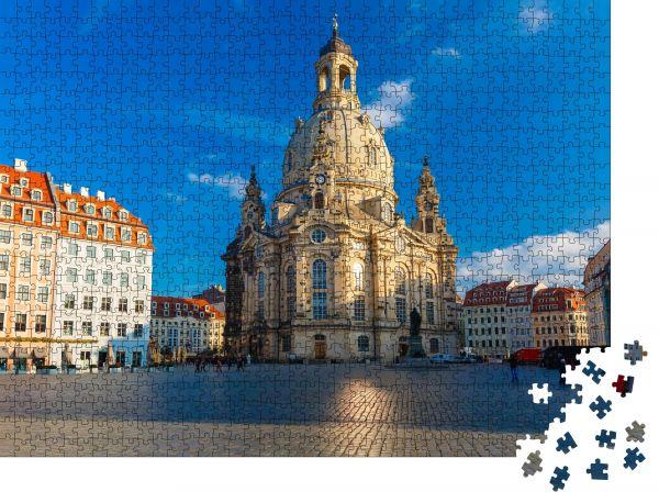 """Puzzle-Motiv """"Frauenkirche am Morgen, Dresden, Deutschland"""" - Puzzle-Schachtel zu 1000 Teile Puzzle"""