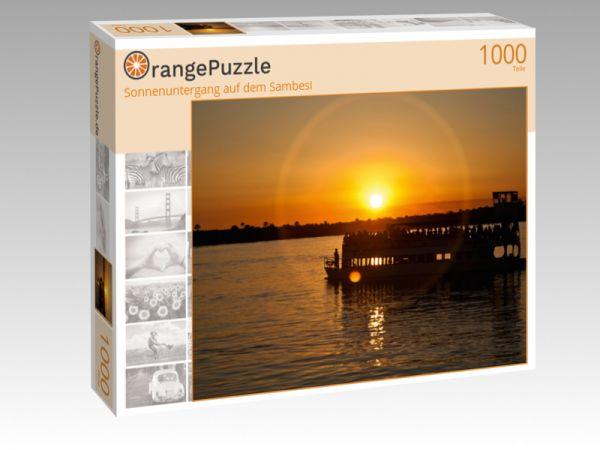 """Puzzle Motiv """"Sonnenuntergang auf dem Sambesi"""" - Puzzle-Schachtel zu 1000 Teile Puzzle"""