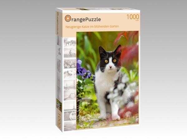 """Puzzle Motiv """"Neugierige Katze im blühenden Garten"""" - Puzzle-Schachtel zu 1000 Teile Puzzle"""