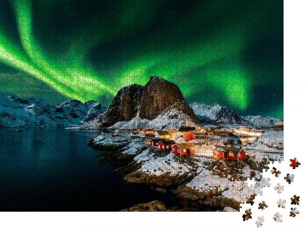 """Puzzle-Motiv """"Aurora borealis über Hamnoy in Norwegen"""" - Puzzle-Schachtel zu 1000 Teile Puzzle"""