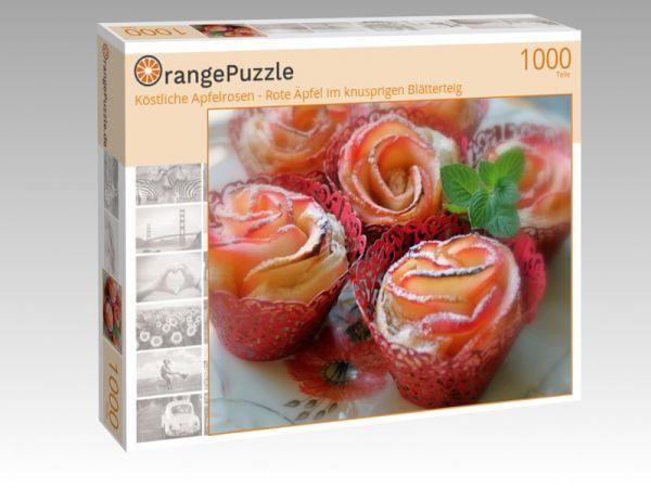 """Puzzle Motiv """"Köstliche Apfelrosen - Rote Äpfel im knusprigen Blätterteig"""" - Puzzle-Schachtel zu 1000 Teile Puzzle"""