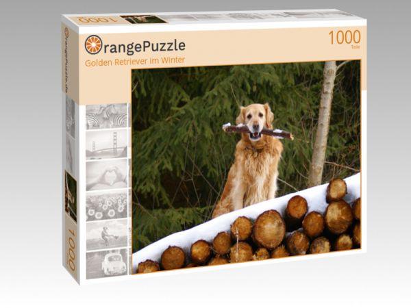 "Puzzle Motiv ""Golden Retriever im Winter"" - Puzzle-Schachtel zu 1000 Teile Puzzle"