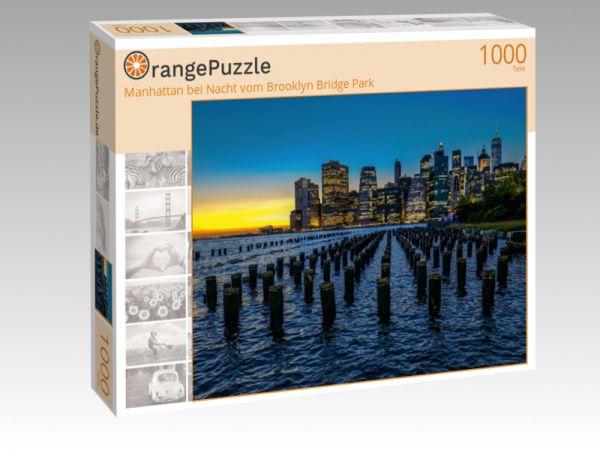"""Puzzle Motiv """"Manhattan bei Nacht vom Brooklyn Bridge Park"""" - Puzzle-Schachtel zu 1000 Teile Puzzle"""