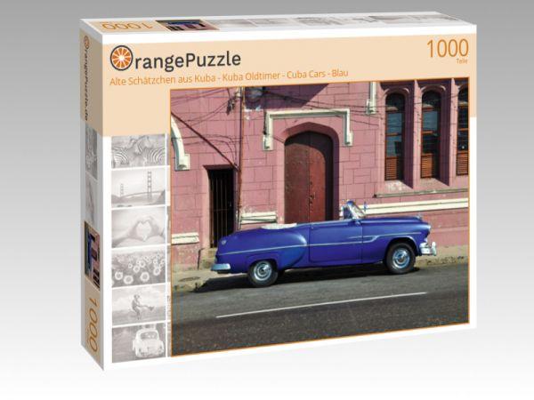 """Puzzle Motiv """"Alte Schätzchen aus Kuba - Kuba Oldtimer - Cuba Cars - Blau"""" - Puzzle-Schachtel zu 1000 Teile Puzzle"""