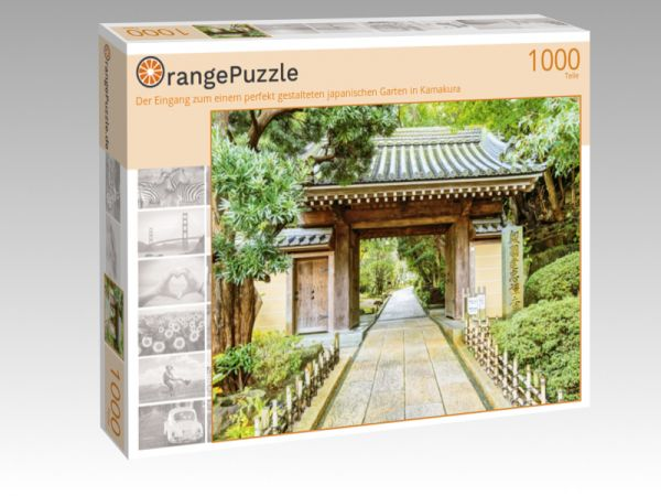 """Puzzle Motiv """"Der Eingang zum einem perfekt gestalteten japanischen Garten in Kamakura"""" - Puzzle-Schachtel zu 1000 Teile Puzzle"""