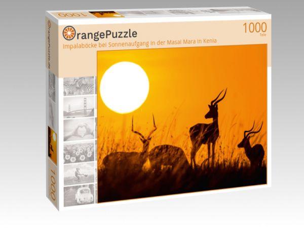 """Puzzle Motiv """"Impalaböcke bei Sonnenaufgang in der Masai Mara in Kenia"""" - Puzzle-Schachtel zu 1000 Teile Puzzle"""