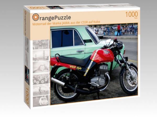 """Puzzle Motiv """"Motorrad der Marke JAWA aus der CSSR auf Kuba"""" - Puzzle-Schachtel zu 1000 Teile Puzzle"""