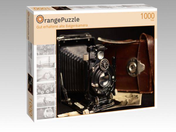 """Puzzle Motiv """"Gut erhaltene alte Balgenkamera"""" - Puzzle-Schachtel zu 1000 Teile Puzzle"""