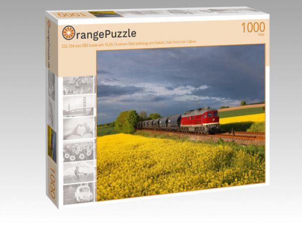 """Puzzle Motiv """"232 334 des EBS hatte am 16.05.16 einen Getreidezug am Haken, hier kurz vor Löbau."""" - Puzzle-Schachtel zu 1000 Teile Puzzle"""