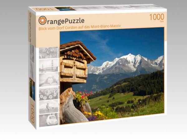 """Puzzle Motiv """"Blick vom Dorf Cordon auf das Mont-Blanc-Massiv"""" - Puzzle-Schachtel zu 1000 Teile Puzzle"""