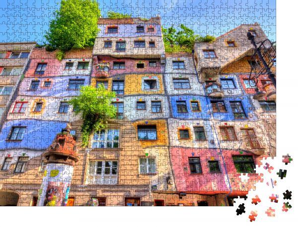 """Puzzle-Motiv """"Hundertwasser-Haus in Wien, Österreich"""" - Puzzle-Schachtel zu 1000 Teile Puzzle"""