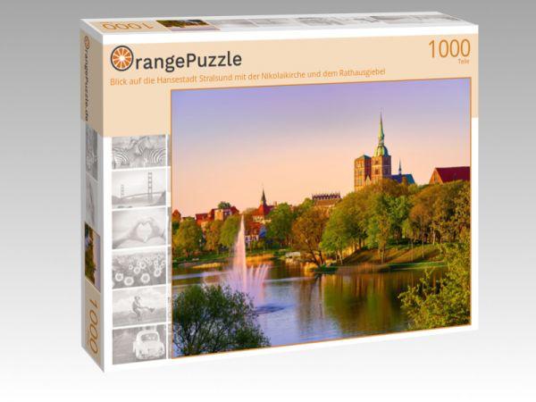 """Puzzle Motiv """"Blick auf die Hansestadt Stralsund mit der Nikolaikirche und dem Rathausgiebel"""" - Puzzle-Schachtel zu 1000 Teile Puzzle"""