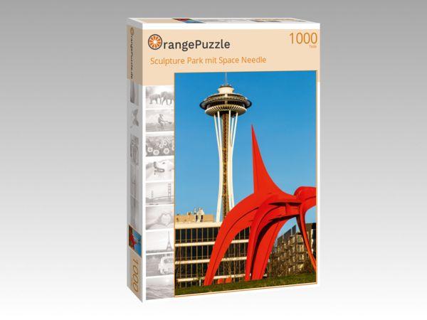"""Puzzle Motiv """"Sculpture Park mit Space Needle"""" - Puzzle-Schachtel zu 1000 Teile Puzzle"""