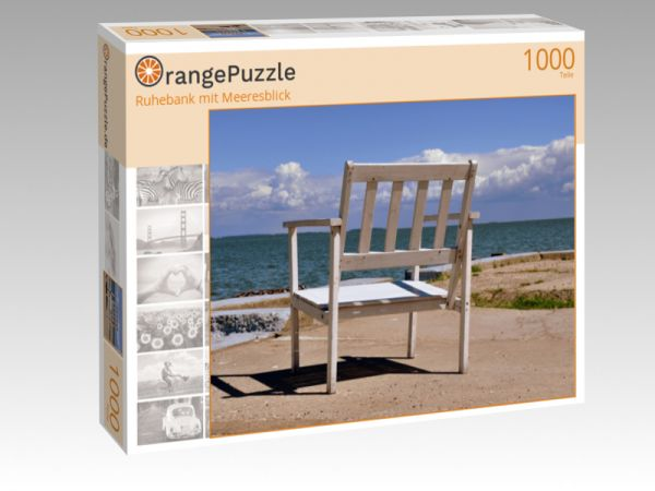 "Puzzle Motiv ""Ruhebank mit Meeresblick"" - Puzzle-Schachtel zu 1000 Teile Puzzle"