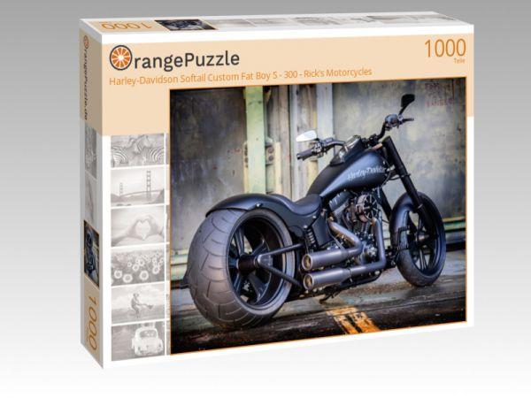 "Puzzle Motiv ""Harley-Davidson Softail Custom Fat Boy S - 300 - Rick's Motorcycles"" - Puzzle-Schachtel zu 1000 Teile Puzzle"