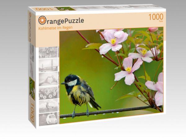 "Puzzle Motiv ""Kohlmeise im Regen"" - Puzzle-Schachtel zu 1000 Teile Puzzle"