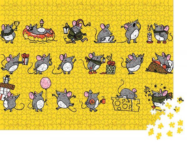 """Puzzle-Motiv """"Vektorsatz von süßen grauen Mauszeichen in verschiedenen Posen: Sitzen"""" - Puzzle-Teile zu 1000 Teile Puzzle"""