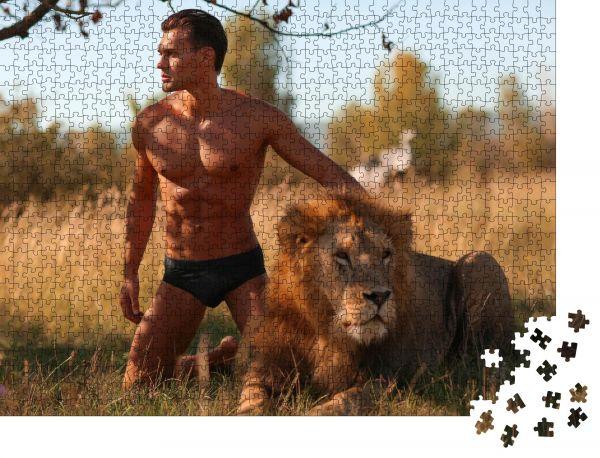 """Puzzle-Motiv """"Männlich, sexy, sexuell, Model, Safari, Löwe, Mann, Löwe Die Natur"""" - Puzzle-Schachtel zu 1000 Teile Puzzle"""