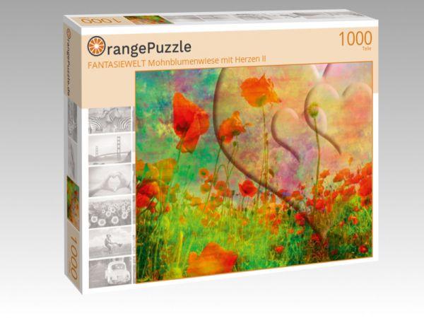 """Puzzle Motiv """"FANTASIEWELT Mohnblumenwiese mit Herzen II"""" - Puzzle-Schachtel zu 1000 Teile Puzzle"""