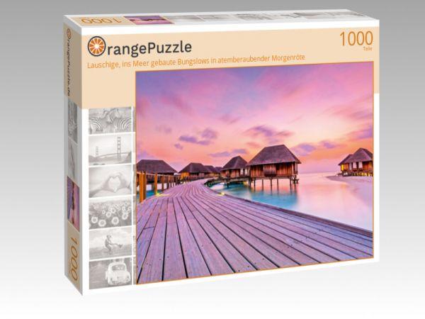 """Puzzle Motiv """"Lauschige, ins Meer gebaute Bungslows in atemberaubender Morgenröte"""" - Puzzle-Schachtel zu 1000 Teile Puzzle"""
