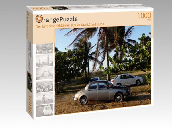 """Puzzle Motiv """"Der britische Oldtimer Jaguar Mark2 auf Kuba"""" - Puzzle-Schachtel zu 1000 Teile Puzzle"""