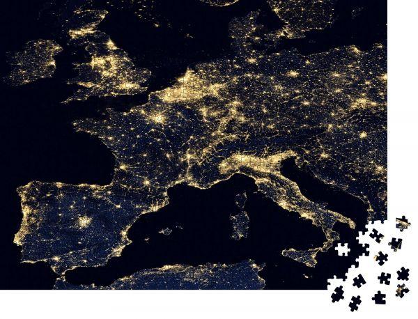 """Puzzle-Motiv """"Stadtlichter auf der Weltkarte Europa"""" - Puzzle-Teile zu 1000 Teile Puzzle"""