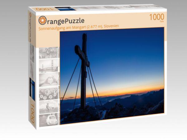 """Puzzle Motiv """"Sonnenaufgang am Mangart (2.677 m), Slovenien"""" - Puzzle-Schachtel zu 1000 Teile Puzzle"""