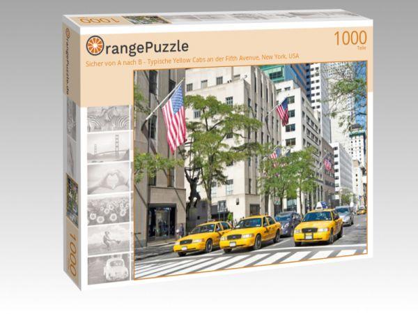"""Puzzle Motiv """"Sicher von A nach B - Typische Yellow Cabs an der Fifth Avenue, New York, USA"""" - Puzzle-Schachtel zu 1000 Teile Puzzle"""