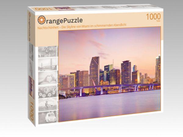 """Puzzle Motiv """"Nachtschönheit – Die Skyline von Miami im schimmernden Abendlicht"""" - Puzzle-Schachtel zu 1000 Teile Puzzle"""
