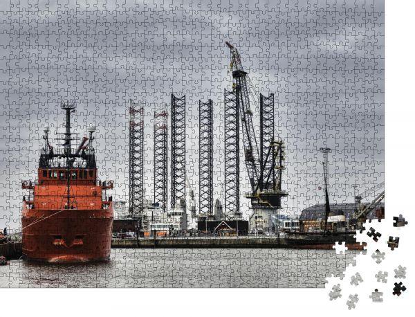 """Puzzle-Motiv """"Offshore-Hafen in Esbjerg, Dänemark"""" - Puzzle-Schachtel zu 1000 Teile Puzzle"""