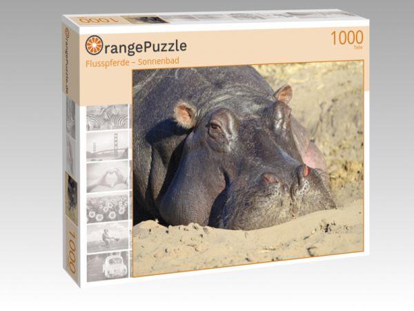 "Puzzle Motiv ""Flusspferde – Sonnenbad"" - Puzzle-Schachtel zu 1000 Teile Puzzle"