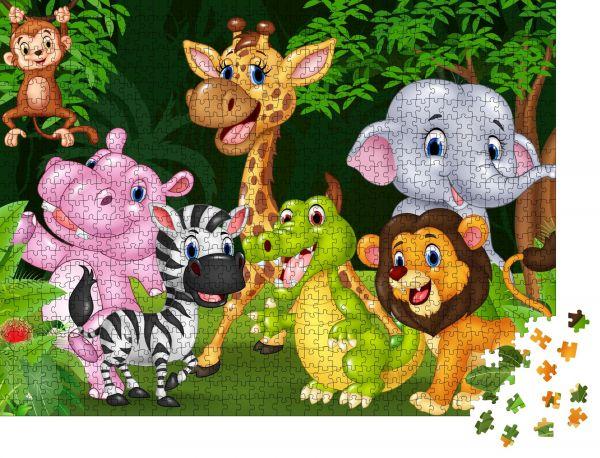 """Puzzle-Motiv """"Cartoon Wildtier im Dschungel"""" - Puzzle-Teile zu 1000 Teile Puzzle"""