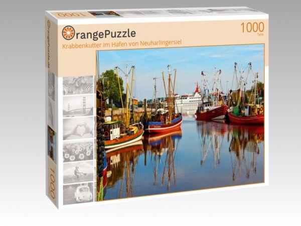 """Puzzle Motiv """"Krabbenkutter im Hafen von Neuharlingersiel"""" - Puzzle-Schachtel zu 1000 Teile Puzzle"""