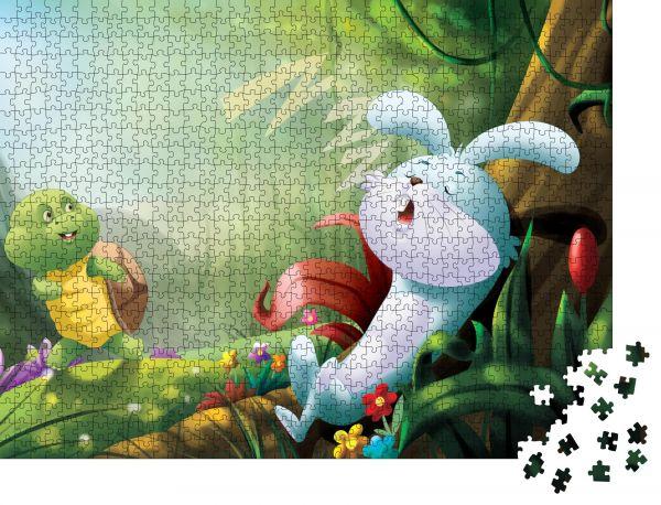 """Puzzle-Motiv """"Kindergartengeschichte Hase und Schildkröte"""" - Puzzle-Teile zu 1000 Teile Puzzle"""