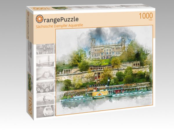 "Puzzle Motiv ""Sächsische Dampfer Aquarelle"" - Puzzle-Schachtel zu 1000 Teile Puzzle"