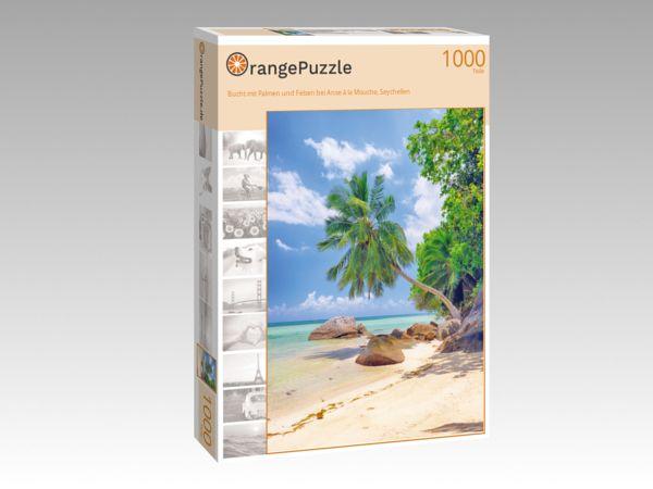 "Puzzle Motiv ""Bucht mit Palmen und Felsen bei Anse à la Mouche, Seychellen"" - Puzzle-Schachtel zu 1000 Teile Puzzle"