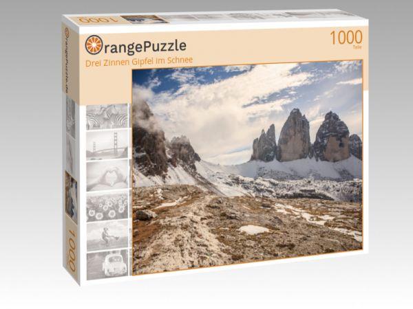 """Puzzle Motiv """"Drei Zinnen Gipfel im Schnee"""" - Puzzle-Schachtel zu 1000 Teile Puzzle"""